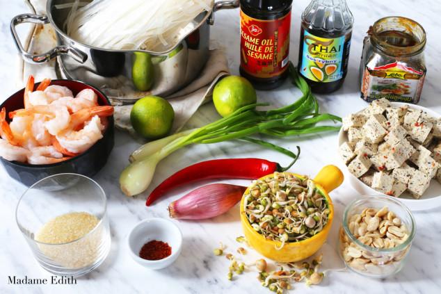 pad thai z krewetkami i tofu