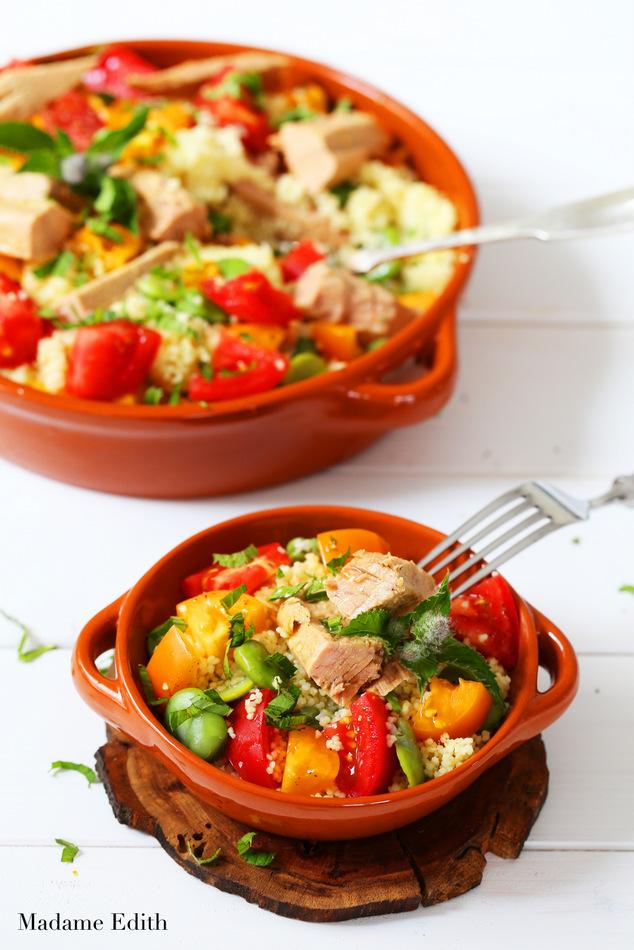 salatka z kuskusem bobem i tunczykiem 7