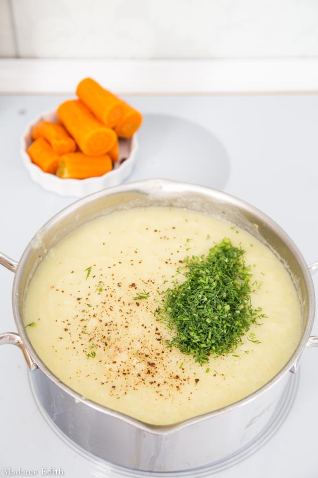 krem z białych warzyw
