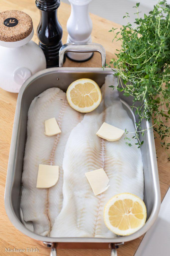pieczony filet z halibuta